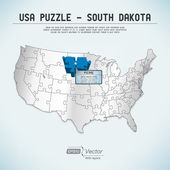 USA map puzzle - One state-one puzzle piece - South Dakota, Pierre — Stock Vector