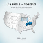 USA map puzzle - One state-one puzzle piece - Tennessee, Nashville — Stock Vector