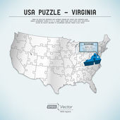 USA map puzzle - One state-one puzzle piece - Virginia, Richmond — Stock Vector
