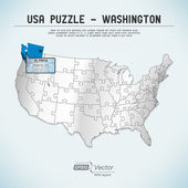 USA map puzzle - One state-one puzzle piece - Washington, Olympia — Stock Vector