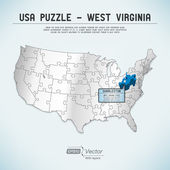 USA map puzzle - One state-one puzzle piece - West Virginia, Charleston — Stock Vector