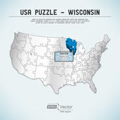 USA map puzzle - One state-one puzzle piece - Wisconsin, Madison — Stock Vector