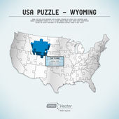 USA map puzzle - One state-one puzzle piece - Wyoming, Cheyenne — Stock Vector
