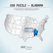 USA map puzzle - One state-one puzzle piece - Alabama, Montgomery — Stock Vector