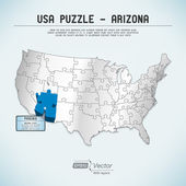 USA map puzzle - One state-one puzzle piece - Arizona, Phoenix — Stock Vector