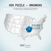 USA map puzzle - One state-one puzzle piece - Arkansas, Little Rock — Stock Vector