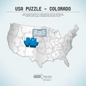 USA map puzzle - One state-one puzzle piece - Colorado, Denver — Stock Vector
