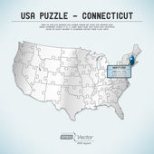 USA map puzzle - One state-one puzzle piece - Connecticut, Hartfort — Stock Vector