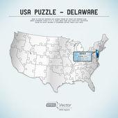 Usa Karte Puzzle - ein Staat-ein puzzle Stück - Delaware, dover — Stockvektor
