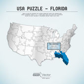 USA map puzzle - One state-one puzzle piece - Florida, Tallahassee — Stock Vector