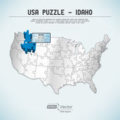 USA map puzzle - One state-one puzzle piece - Idaho, Boise — Stock Vector