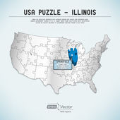 USA map puzzle - One state-one puzzle piece - Illinois, Springfield — Stock Vector