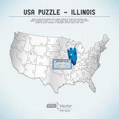 Usa karte puzzle - ein staat-ein puzzle stück - illinois, springfield — Stockvektor