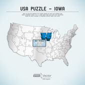 USA map puzzle - One state-one puzzle piece - Iowa, Des Moines — ストックベクタ