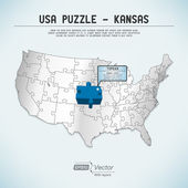 USA map puzzle - One state-one puzzle piece - Kansas, Topeka — Stock Vector