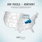 USA map puzzle - One state-one puzzle piece - Kentucky, Frankfort — Stock Vector