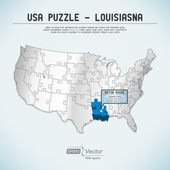 USA map puzzle - One state-one puzzle piece - Louisiana, Baton Rouge — Stock Vector