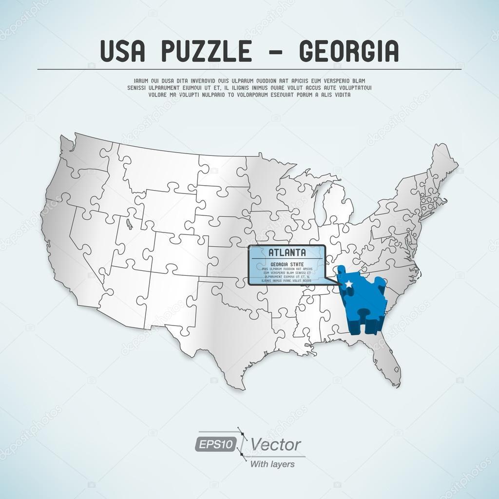 USA map puzzle One stateone puzzle piece Georgia Atlanta – Map Usa Georgia