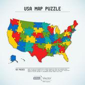 Quebra-cabeça mapa de estados unidos da américa — Vetorial Stock