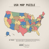 USA map puzzle — Stock Vector