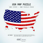 USA map puzzle - One state-one puzzle piece — Stock Vector