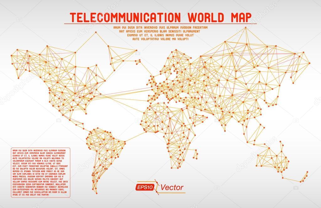 直线和渐变抽象电信世界地图