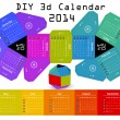 Stock Vector: 3d DIY Calendar 2014