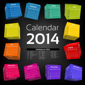 3d cube calendar 2014 — Stock Vector