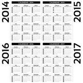 Calendar 2014, 2015, 20126, 2017 - EPS10 vector — Stock Vector