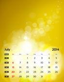 Vector calendar 2014 - July — Stock Vector
