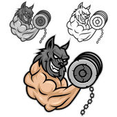 Wolf bodybuilder exercising with dumbbells — Stock Vector