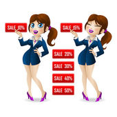 Attractive girl showing a discount on sale — Stock Vector