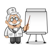 Doctor points on a flip chart — Stock Vector