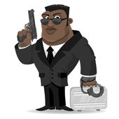 African agent keeps gun and suitcase — Stock Vector