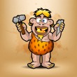 Neanderthal holds stone and hammer — Stock Vector