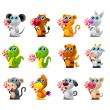 Stock Vector: Chinese horoscope animal toys with sugar candy