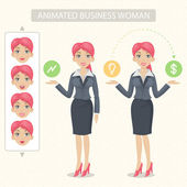 Business woman tells and represents — Stock Vector