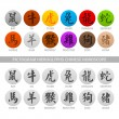 Pictogram hieroglyphs chinese horoscope — Stock Vector