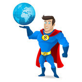 Superhero holds planet earth — Stock Vector