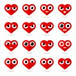 Icons heart smilies — Stock Vector