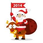 Santa Claus riding a reindeer — Stock Vector
