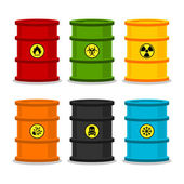 Barrels with dangerous substances — Stock Vector