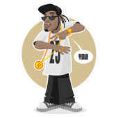 Black guy - rapper — Stock Vector