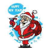 Santa con una copa de vino — Vector de stock