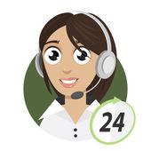 Girl telephone operator, call center 24 — Stock Vector