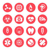 Medical monochrome red icons — Stock Vector