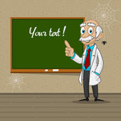 Professor points to blackboard — Stock Vector