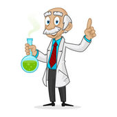 Ingenious professor holding tube — Stock Vector