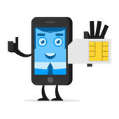 Character phone holds SIM card — Stock Vector