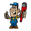 Cheerful plumber holding pipe wrench — Stock Vector